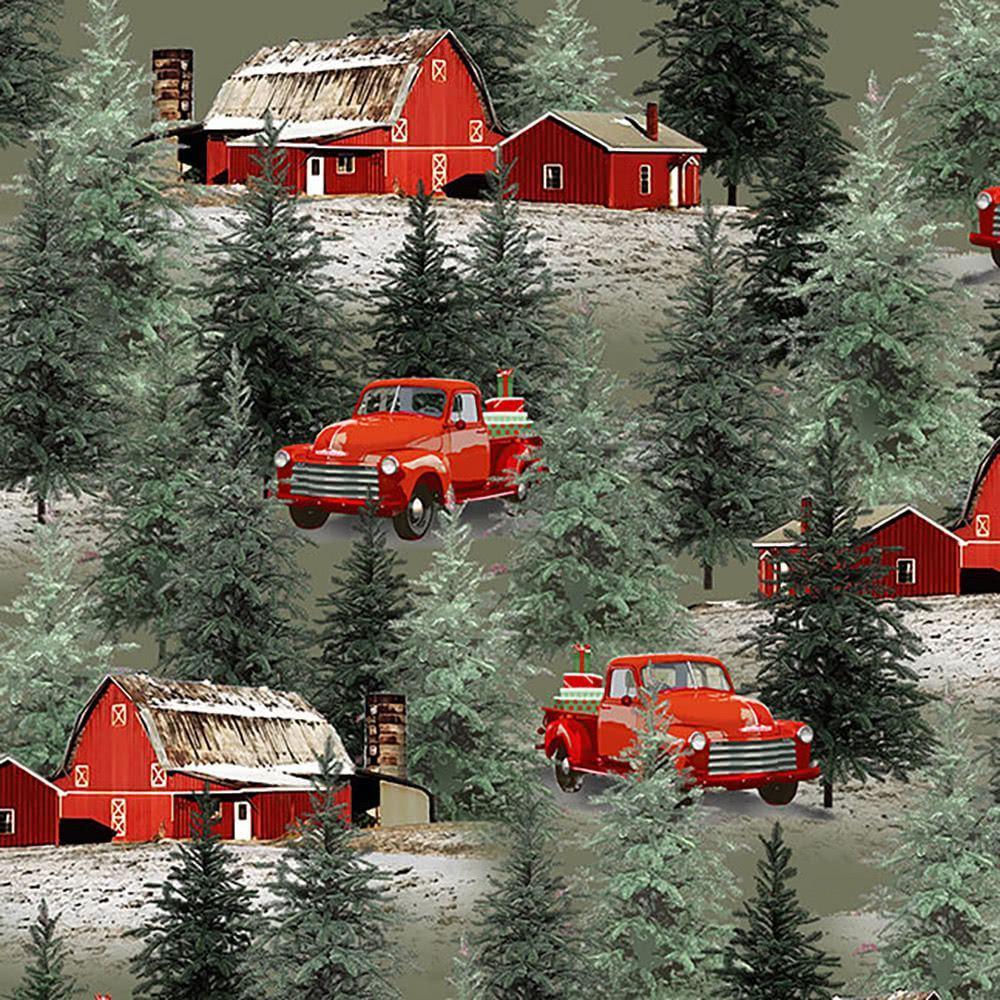 Henry Glass Fabrics Holiday Homestead Jan Shade Beach Truck and Barn  Christmas Scenic