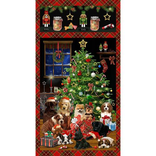 Henry Glass Fabrics Fireside Pups Puppies Christmas Tree