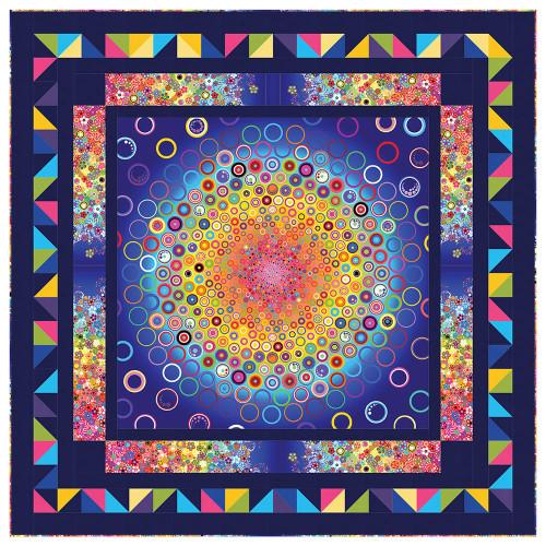 5d78f32107074 Robert Kaufman Effervescence Rainbow Bursting Bubbles Quilt Kit 66 by 66  inches