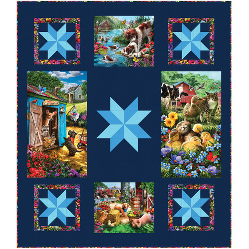 Robert Kaufman Down on the Farm Digital Barn Friends Quilt Kit 46 by 54  inches