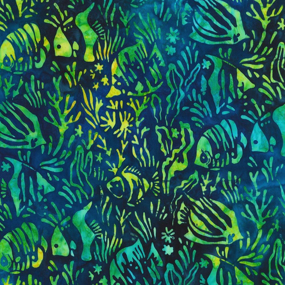 Flip flop totally Tropical batik cotton fabric on navy for Robert Kaufman
