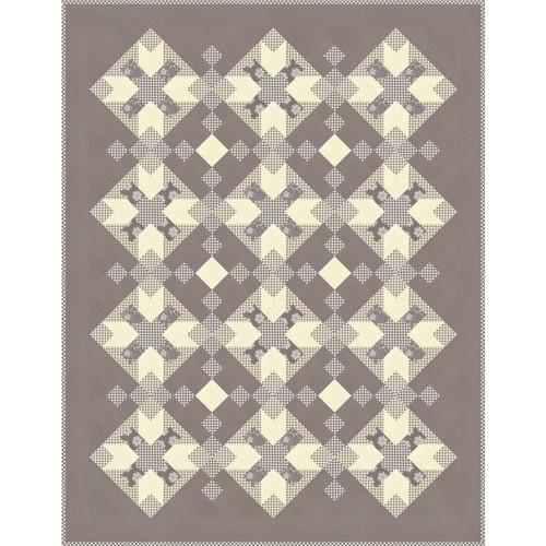 Image Fleur Noel.Moda Fabrics French General Fleur De Noel Grey Edinburgh Quilt Kit