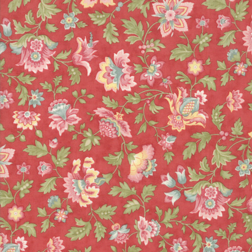 Moda Porcelain 3 Sisters Rose Stylized Floral Cluster Quilt Fabric