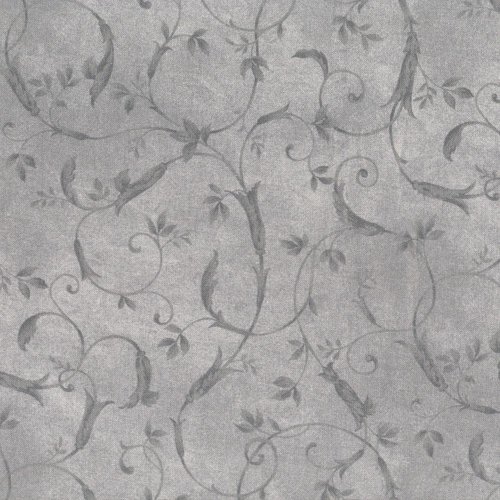 P & B Bella Suede 108 Inch Wide Quilt Back Grey Scroll