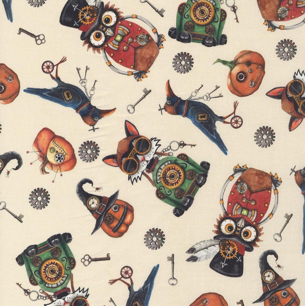 STEAMPUNK HALLOWEEN PANEL Designer is  Desiree\u2019s Designs from Quilting Treasures Digitally Printed