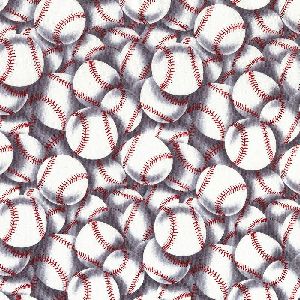 Sports Packed Baseballs Black white Red Premium 100/% Cotton Fabric by the yard