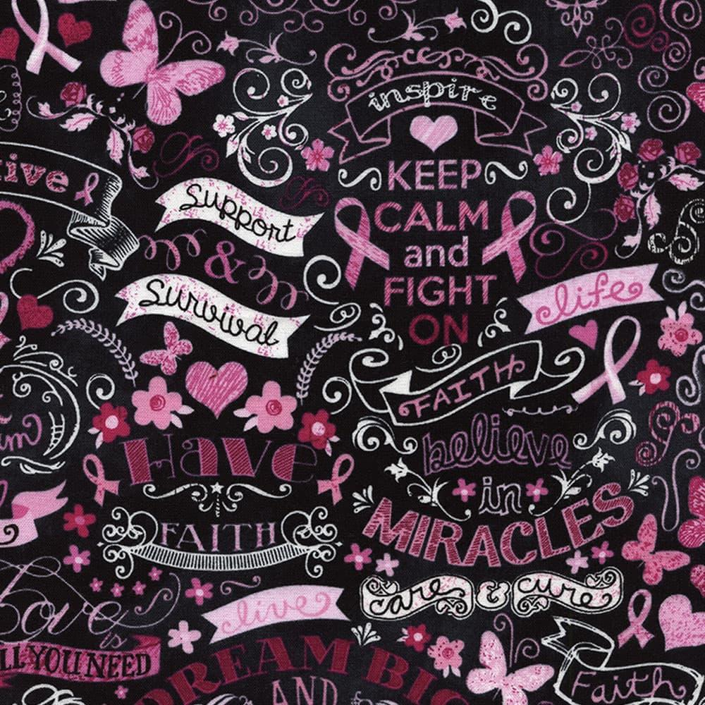 Pink breast cancer awareness ribbon and heart # C1766-PNK cotton