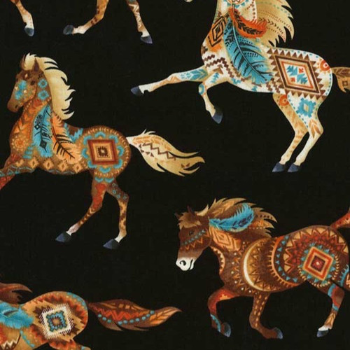 Timeless Treasures Fabrics Southwest Black Southwest Horses