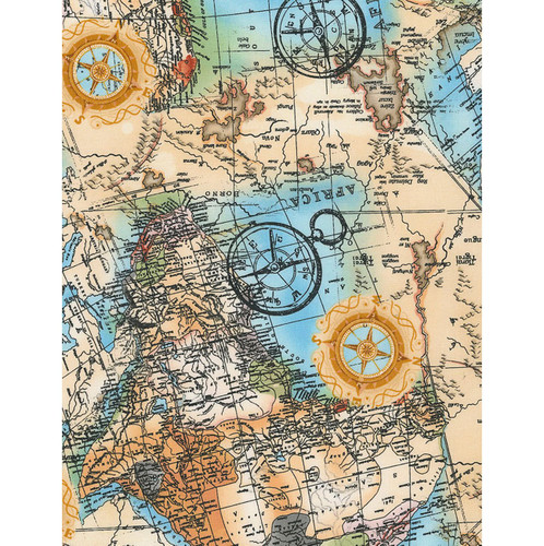 Timeless Treasures Fabrics World Map Multi