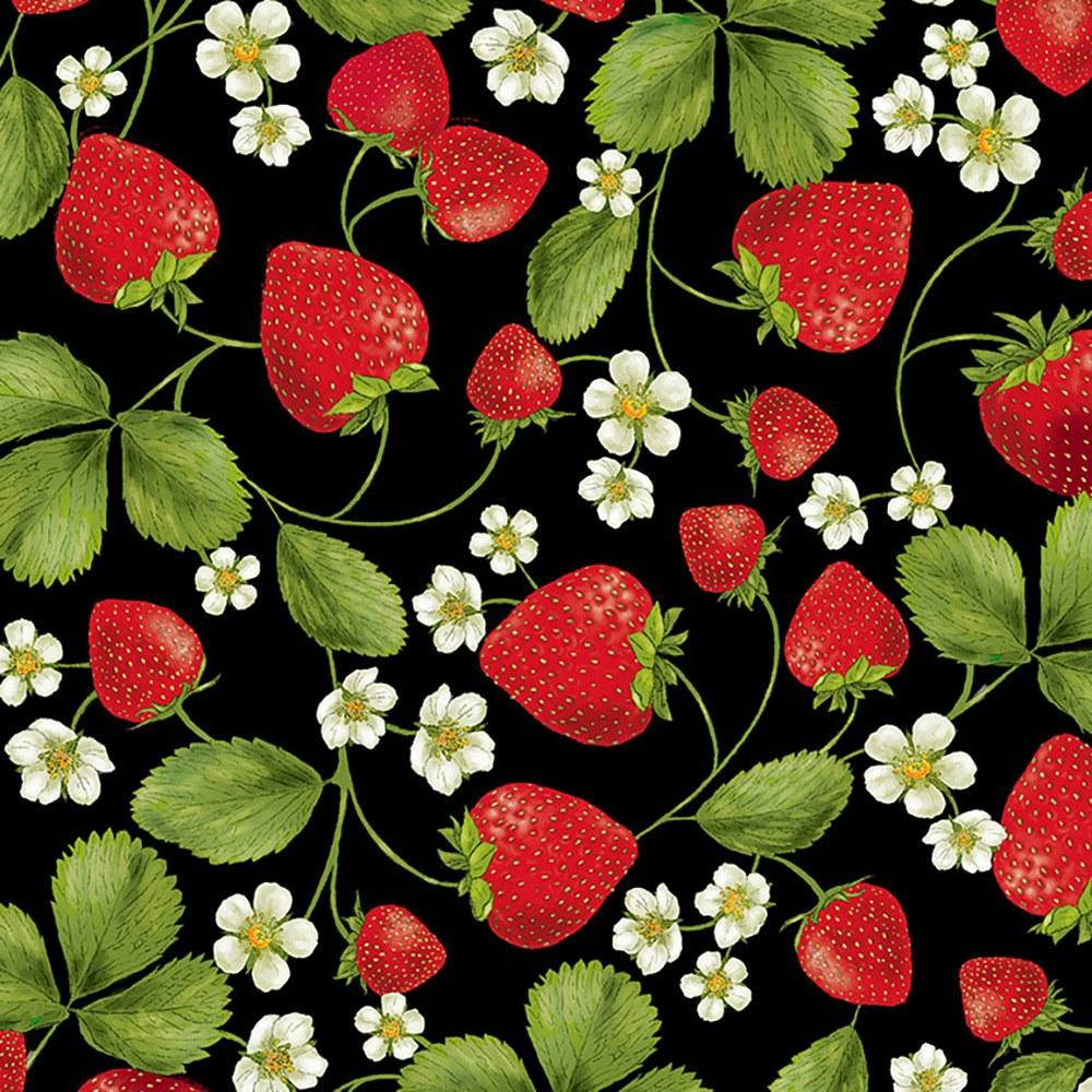 Lifestyle Bunched Strawberries Fruit Cotton Linen Mix Craft Print Fabric