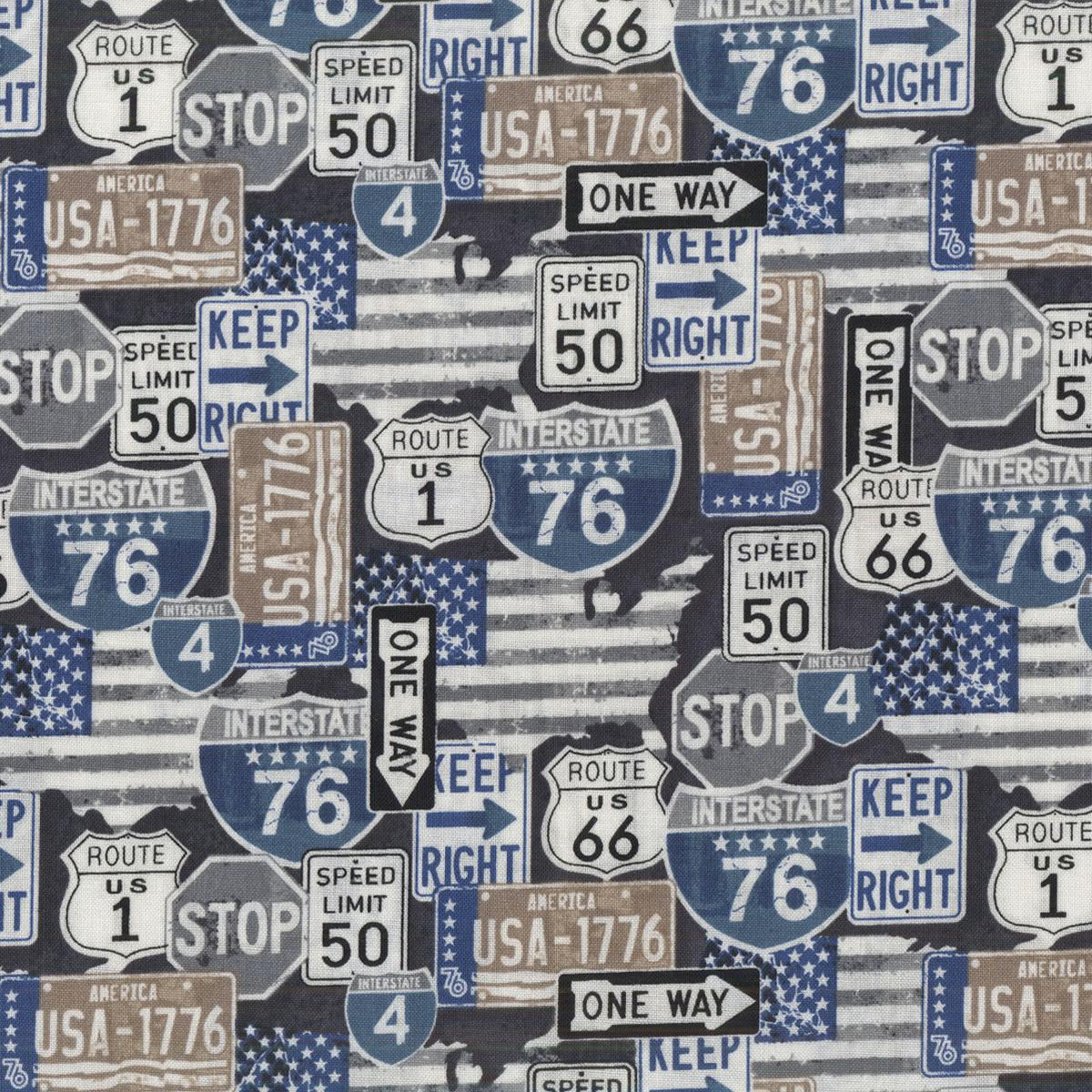You choose the cut American Road Signs in Charcoal part of the American Road Trip Line by Windham Fabrics